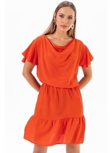 Emjey Degaje Yaka Elbise Kırmızı